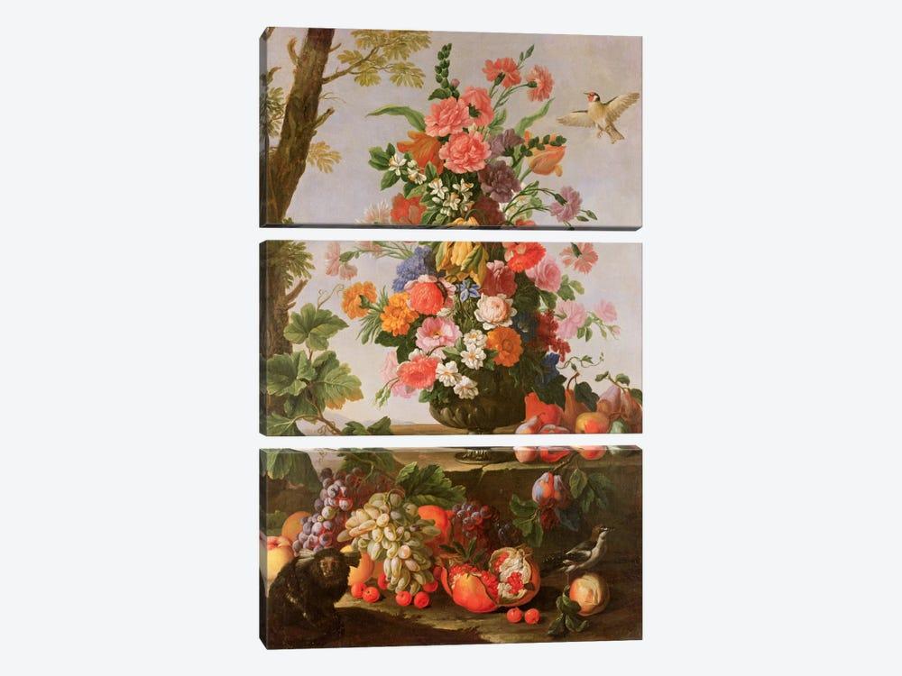 Flower Piece, 17th century by Michele Pace del Campidoglio 3-piece Canvas Art Print