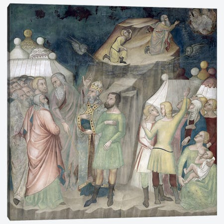 Moses on Mount Sinai, 1356-67  Canvas Print #BMN2990} by Manfredi de Battilori Bartolo di Fredi Canvas Wall Art