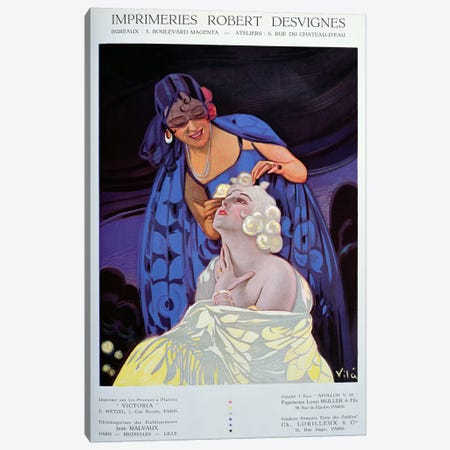 A Spanish Hairdresser, from 'Bulletin Officiel du Syndicat des Imprimeurs', 1928  Canvas Print #BMN2995} by Vila Canvas Print