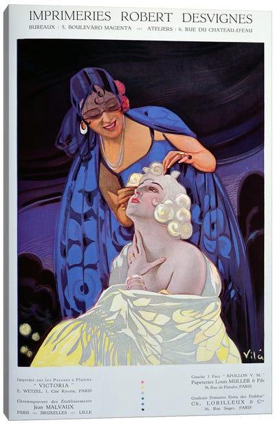 A Spanish Hairdresser, from 'Bulletin Officiel du Syndicat des Imprimeurs', 1928  Canvas Art Print