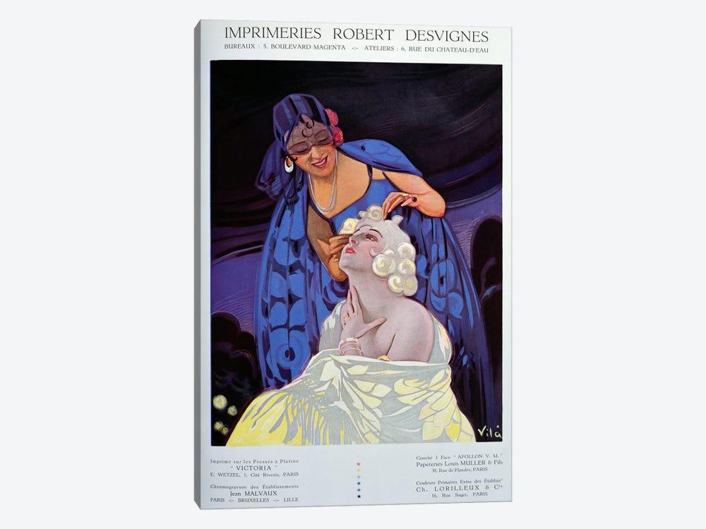 A Spanish Hairdresser, from 'Bulletin Officiel du Syndicat des Imprimeurs', 1928  by Vila 1-piece Canvas Art Print