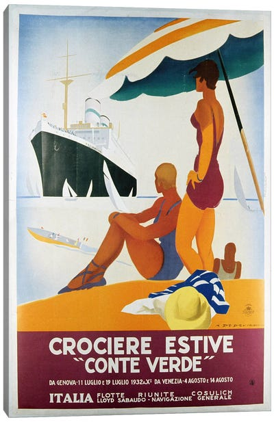 Poster advertising the 'Conte Verde', 1932 (colour litho) Canvas Art Print