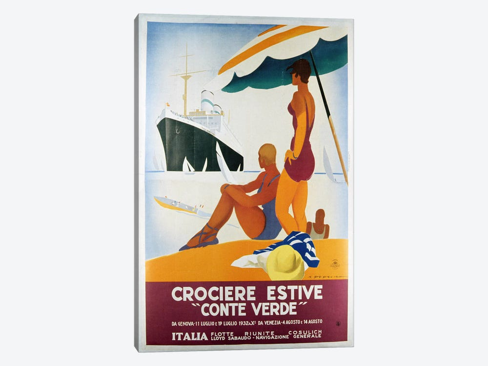 Poster advertising the 'Conte Verde', 1932 (colour litho) by Italian School 1-piece Canvas Print