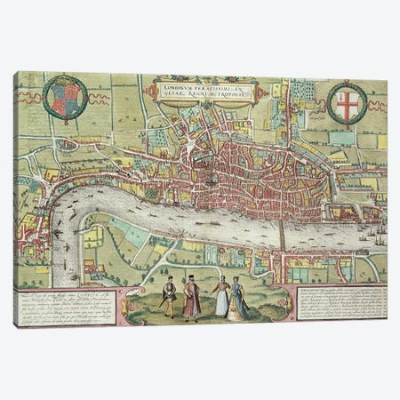 Map of London, from 'Civitates Orbis Terrarum' by Georg Braun  Canvas Print #BMN3002} by Joris Hoefnagel Canvas Print