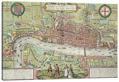 Map of London, from 'Civitates Orbis Terrarum' by Georg Braun  Canvas Print #BMN3002
