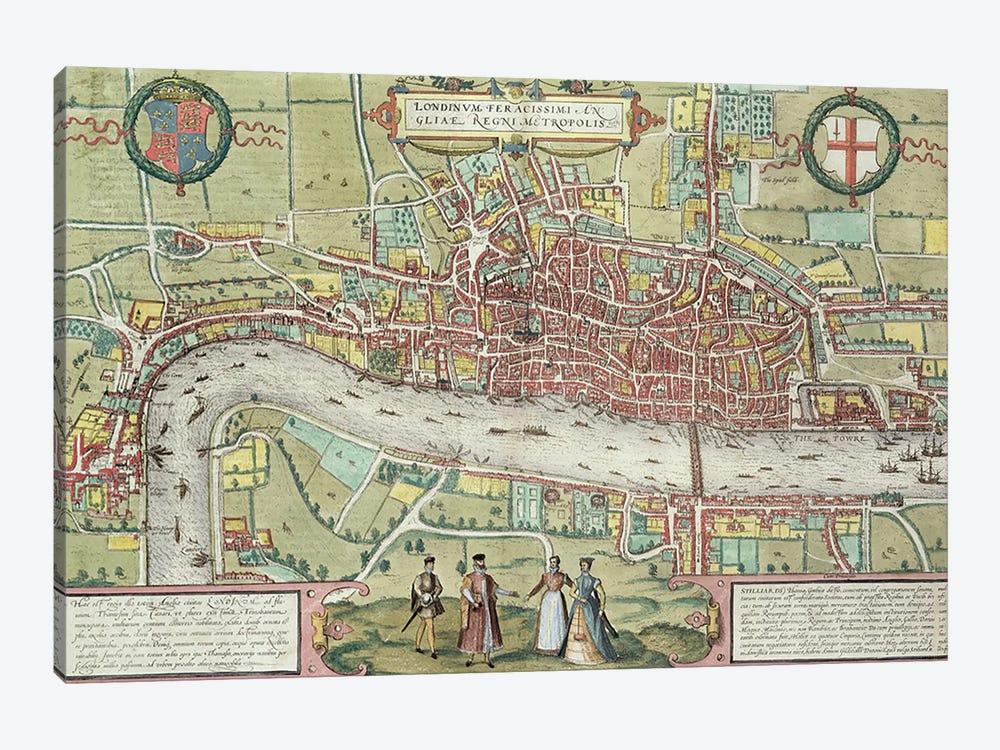 Map of London, from 'Civitates Orbis Terrarum' by Georg Braun  by Joris Hoefnagel 1-piece Canvas Art Print