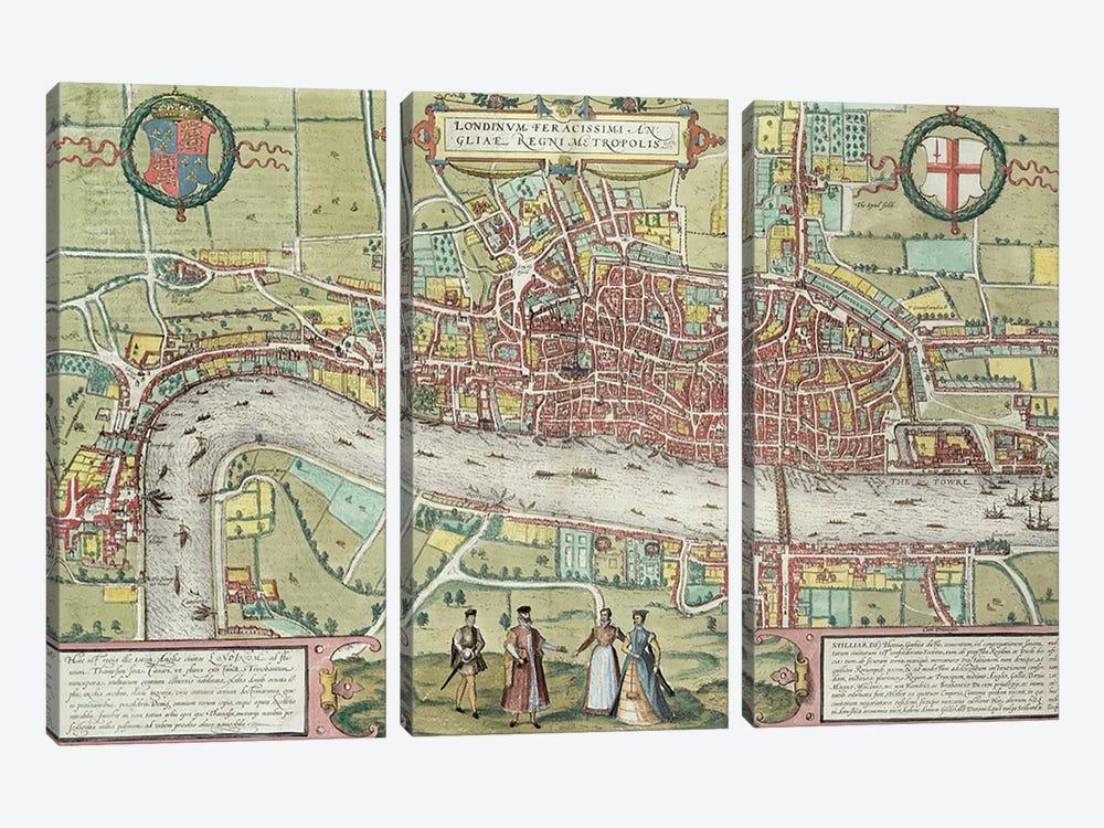 Map of London, from 'Civitates Orbis Terrarum' by Georg Braun  by Joris Hoefnagel 3-piece Art Print