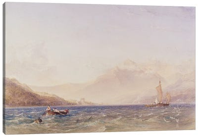 The Head of Loch Fyne, with Dindarra Castle, 1850  Canvas Art Print