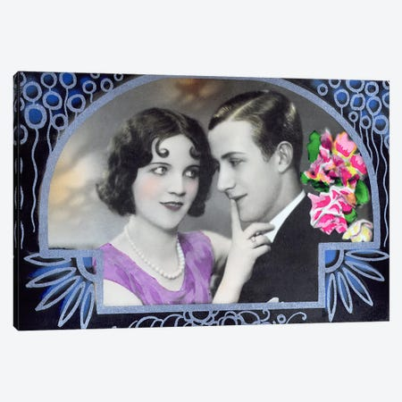 Postcard depicting two lovers, 1932  Canvas Print #BMN3005} by Italian School Canvas Artwork