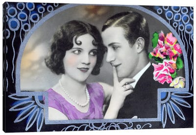 Postcard depicting two lovers, 1932  Canvas Art Print