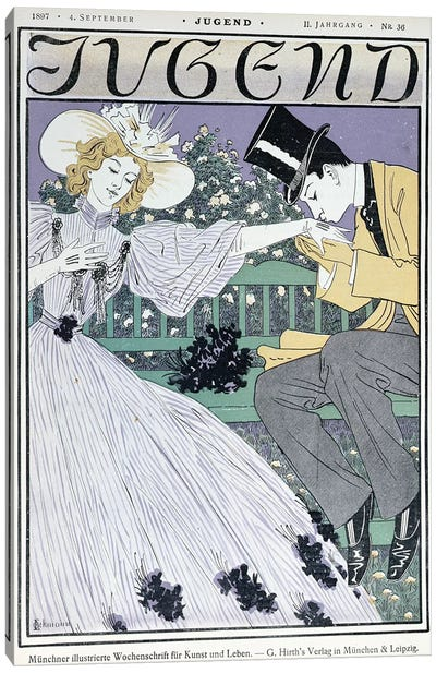 Lovers on a bench, cover illustration for 'Jugend' magazine, Munich, 4th September 1897  Canvas Art Print