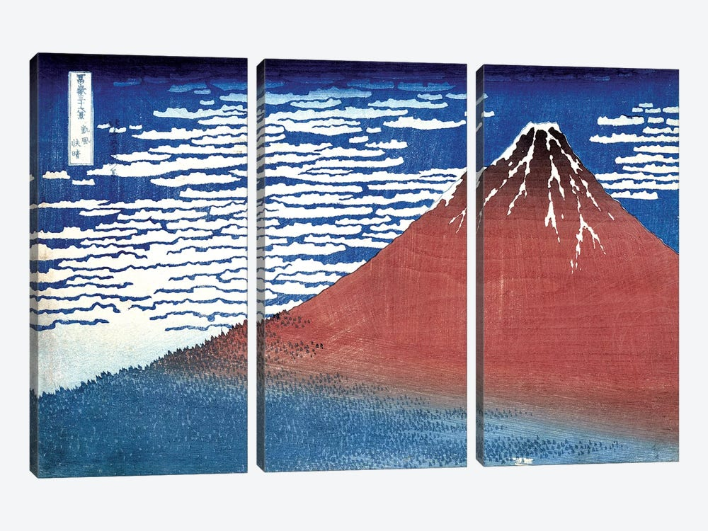 Fine Wind, Clear Morning (Red Fuji) c.1830-32 (Musee Claude Monet) by Katsushika Hokusai 3-piece Canvas Print