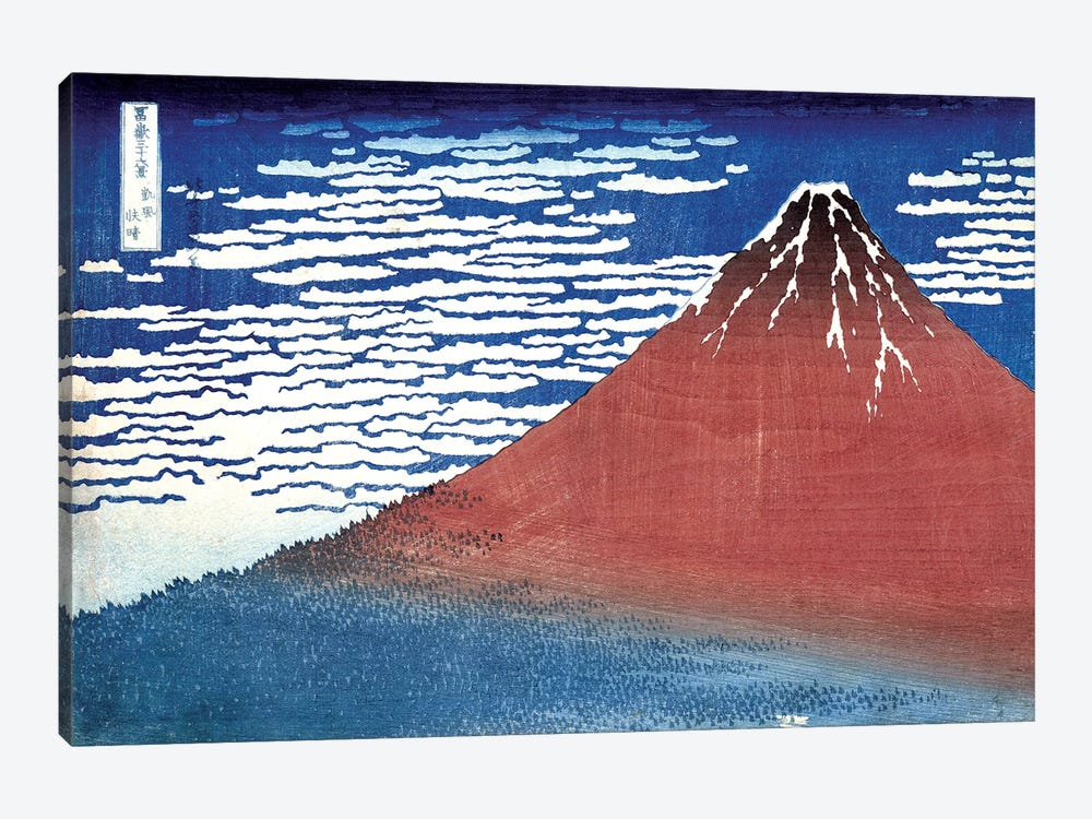 Fine Wind, Clear Morning (Red Fuji) c.1830-32 (Musee Claude Monet) by Katsushika Hokusai 1-piece Canvas Print