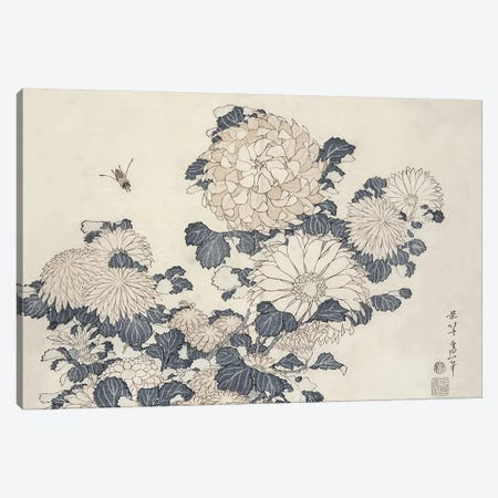 Bee And Chrysanthemums Canvas Print #BMN3009} by Katsushika Hokusai Canvas Art Print
