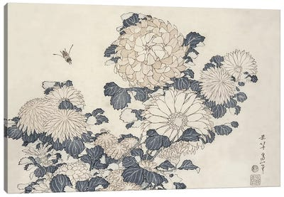Bee and chrysanthemums, from the series 'Big Flowers' Canvas Art Print