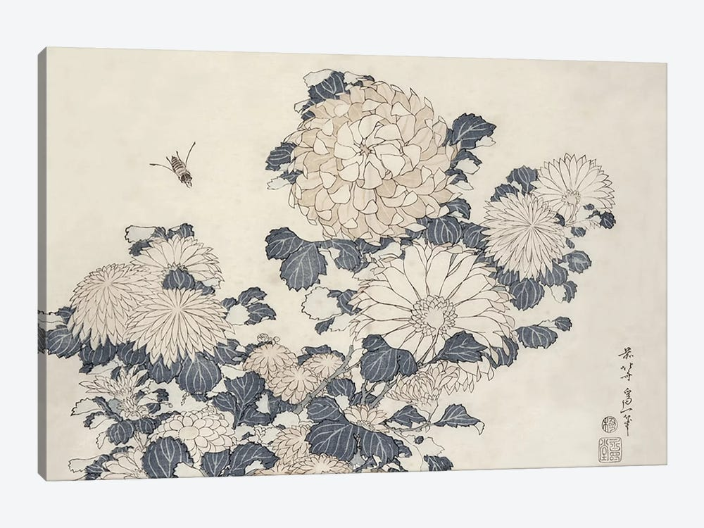 Bee And Chrysanthemums by Katsushika Hokusai 1-piece Canvas Art