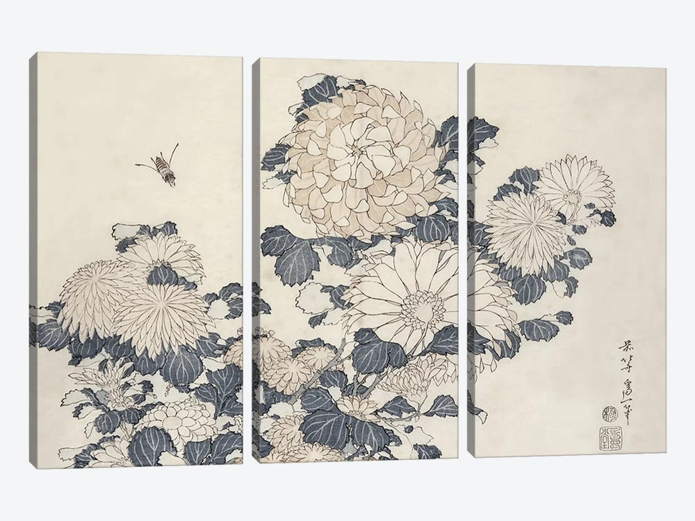 Bee And Chrysanthemums by Katsushika Hokusai 3-piece Canvas Artwork