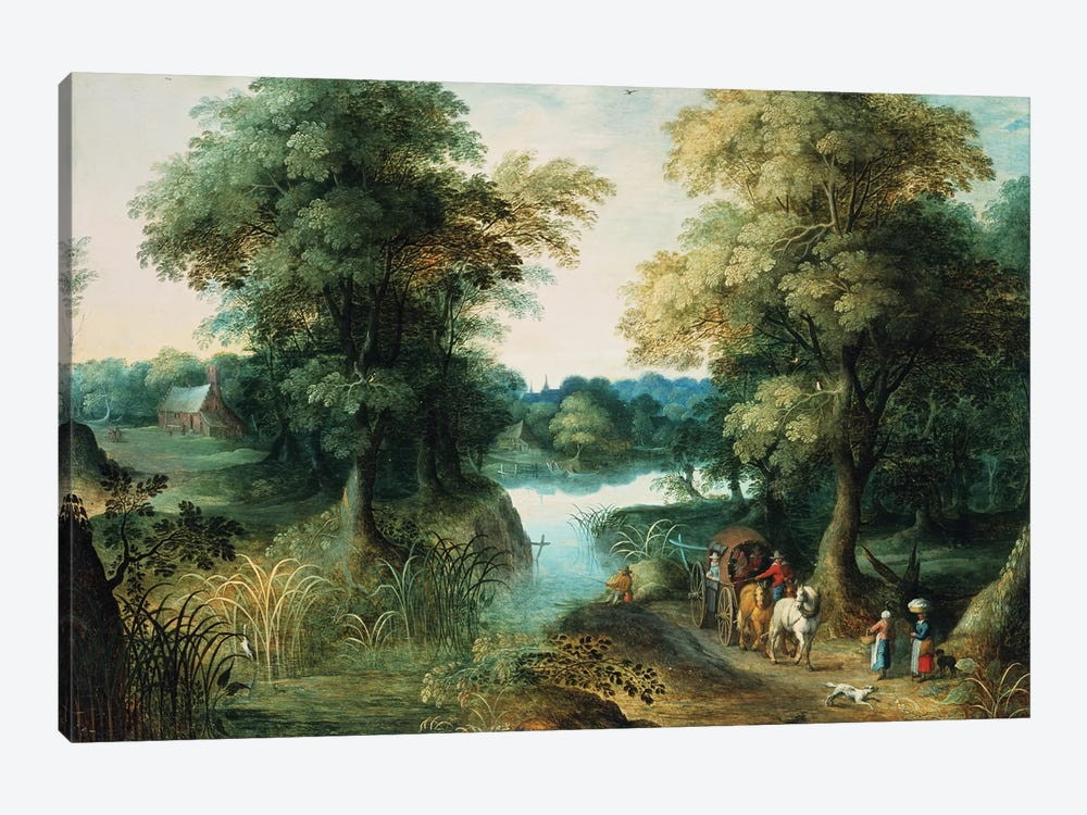 River Landscape by Jan Brueghel the Elder 1-piece Art Print