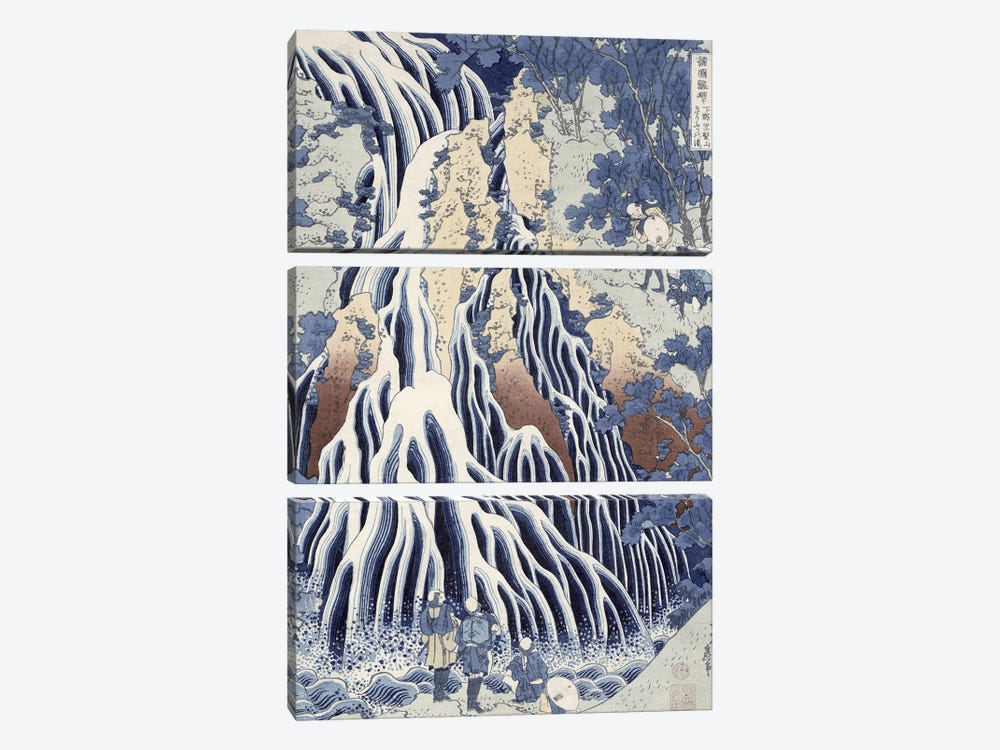 Kirifuri Fall On Kurokami Mount (Musee Claude Monet) by Katsushika Hokusai 3-piece Canvas Artwork