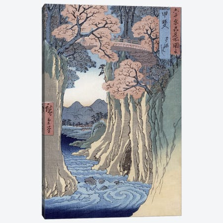 Kai, Saruhashi (Kai Province: Monkey Bridge) Canvas Print #BMN3011} by Utagawa Hiroshige Canvas Artwork