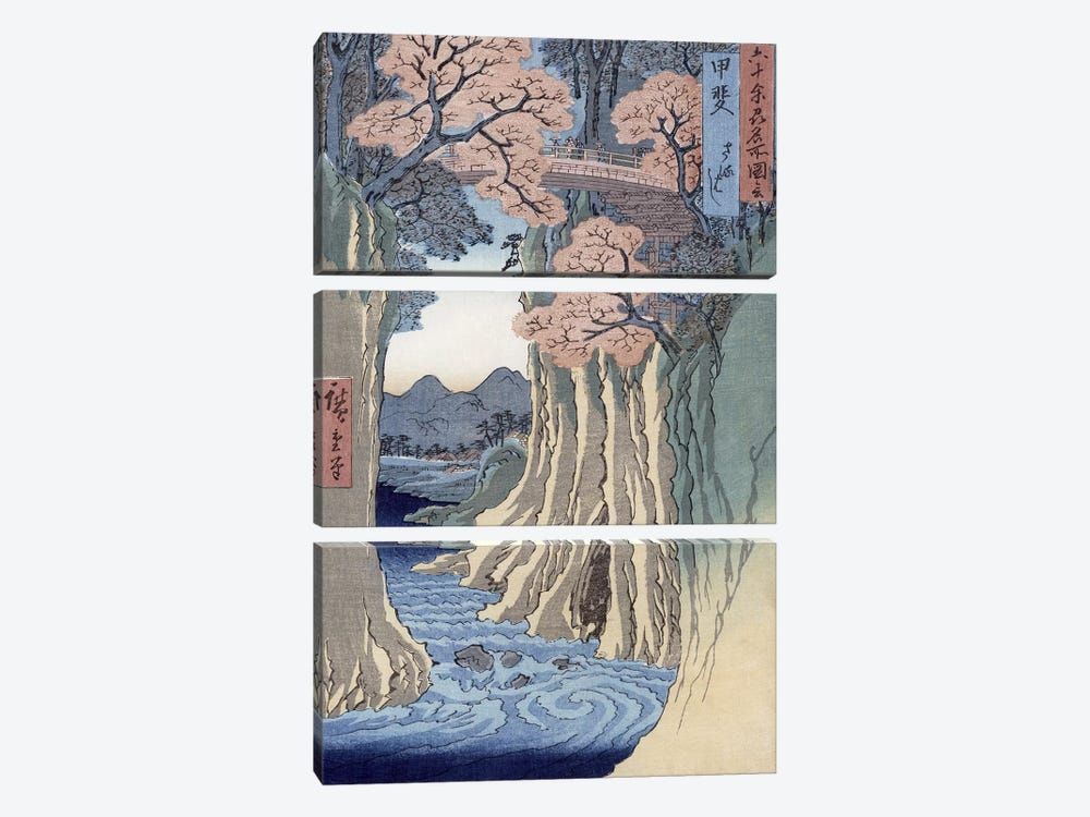 Kai, Saruhashi (Kai Province: Monkey Bridge) by Utagawa Hiroshige 3-piece Canvas Print