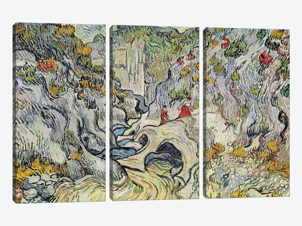 The ravine of the Peyroulets, 1889  by Vincent van Gogh 3-piece Canvas Art Print