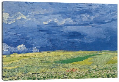 Wheatfields under Thunderclouds, 1890  Canvas Art Print