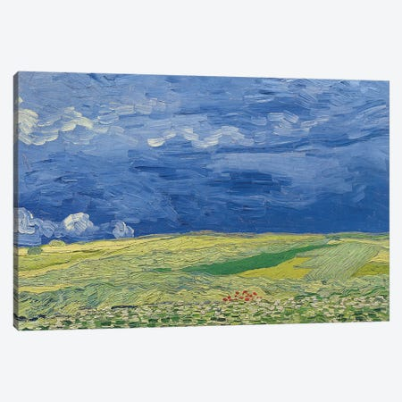 Wheatfields under Thunderclouds, 1890  3-Piece Canvas #BMN3021} by Vincent van Gogh Canvas Print
