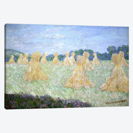 Haystacks, The young Ladies of Giverny, Sun Effect  Canvas Print #BMN3023} by Claude Monet Art Print