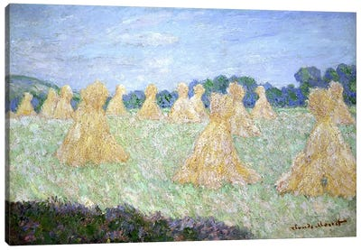 Haystacks, The young Ladies of Giverny, Sun Effect  Canvas Print #BMN3023