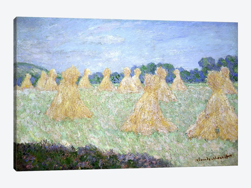 Haystacks, The young Ladies of Giverny, Sun Effect  by Claude Monet 1-piece Canvas Artwork