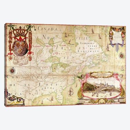 Map of Canada, from 'Carte de l'Amerique Septentrionale'  Canvas Print #BMN3025} by Jean Baptiste Louis Franquelin Canvas Wall Art