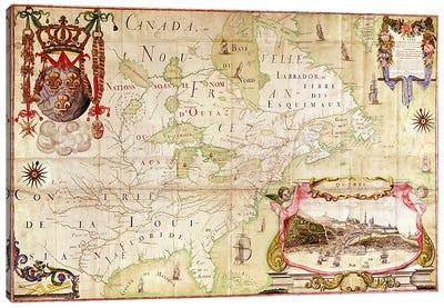 Map of Canada, from 'Carte de l'Amerique Septentrionale'  Canvas Art Print