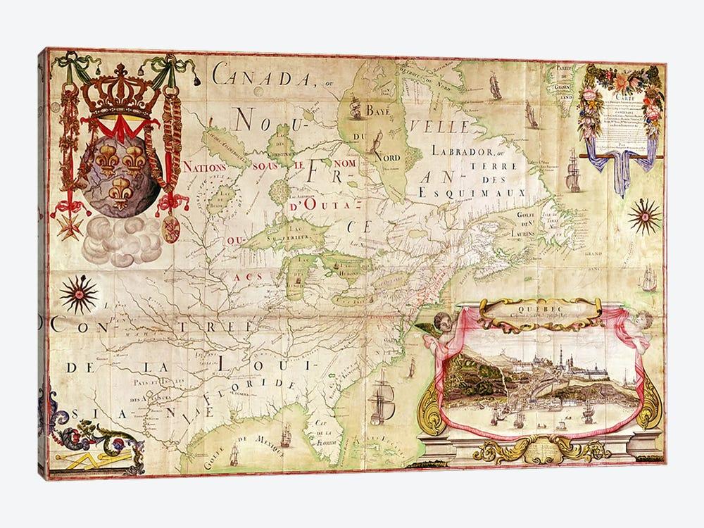 Map of Canada, from 'Carte de l'Amerique Septentrionale'  by Jean Baptiste Louis Franquelin 1-piece Canvas Artwork