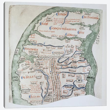Ms 16 fol Vv: England's Northern regions separated from Scotland by Hadrian's Wall  Canvas Print #BMN3029} by Matthew Paris Art Print