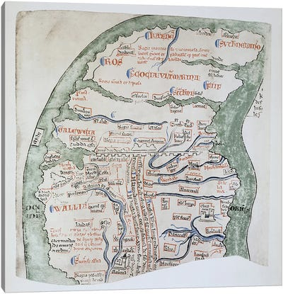 Ms 16 fol Vv: England's Northern regions separated from Scotland by Hadrian's Wall  Canvas Print #BMN3029