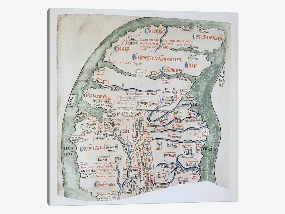 Ms 16 fol Vv: England's Northern regions separated from Scotland by Hadrian's Wall by Matthew Paris 1-piece Canvas Art