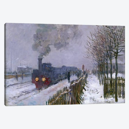 Train in the Snow or The Locomotive, 1875  Canvas Print #BMN303} by Claude Monet Canvas Art Print