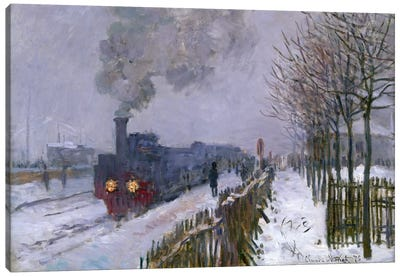 Train in the Snow or The Locomotive, 1875  Canvas Art Print
