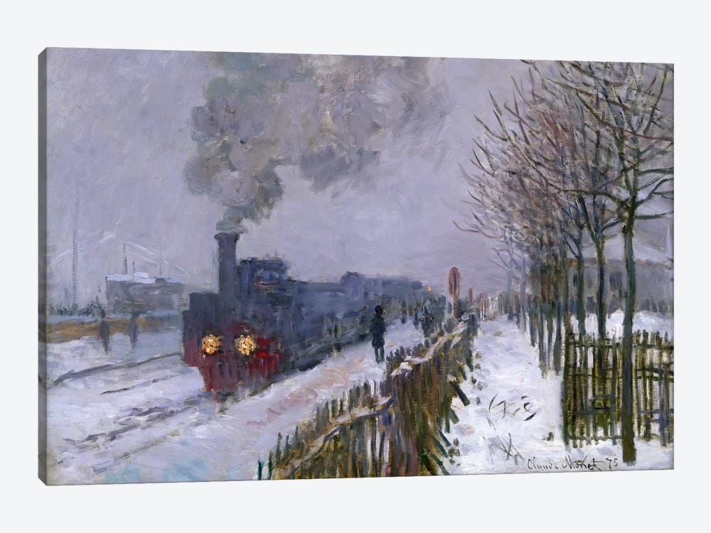 Train in the Snow or The Locomotive, 1875  by Claude Monet 1-piece Canvas Art