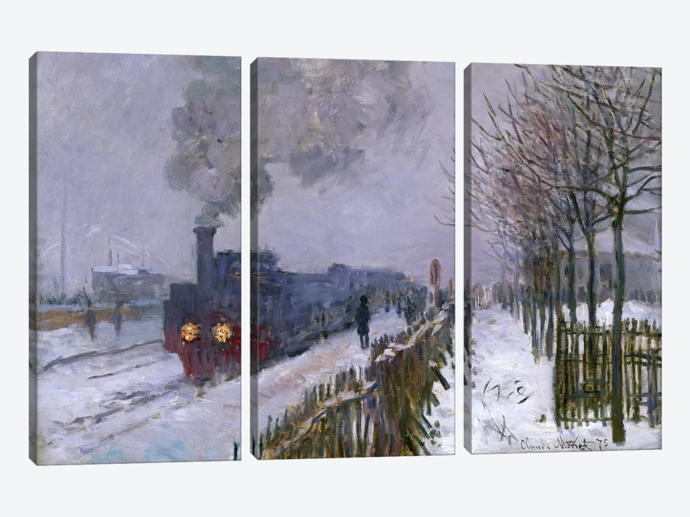Train in the Snow or The Locomotive, 1875  by Claude Monet 3-piece Canvas Artwork