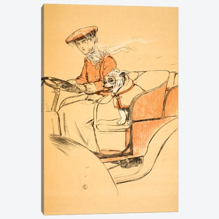 Up Front in my Mistress' Car', Cecil Aldon  Canvas Print #BMN3047} by Cecil Charles Windsor Aldin Canvas Art