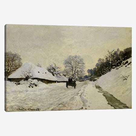 The Cart, or Road under Snow at Honfleur, 1865  Canvas Print #BMN304} by Claude Monet Canvas Wall Art