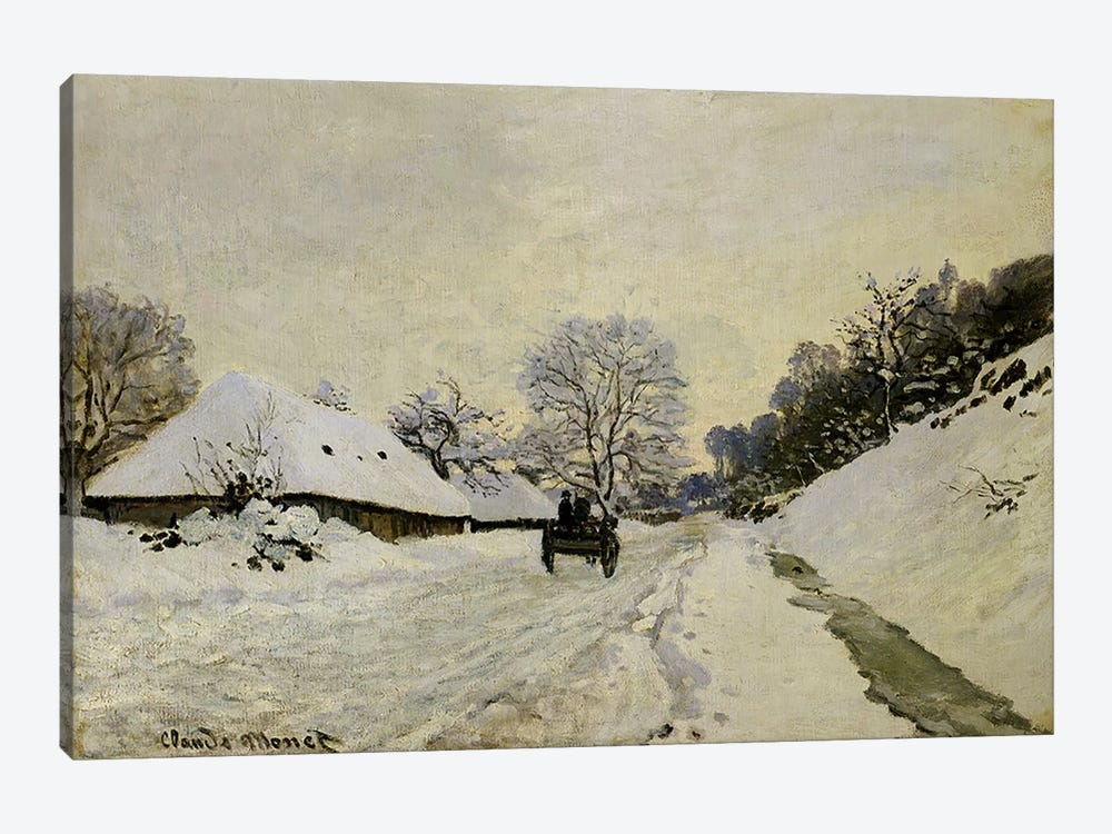 The Cart, or Road under Snow at Honfleur, 1865  by Claude Monet 1-piece Canvas Print