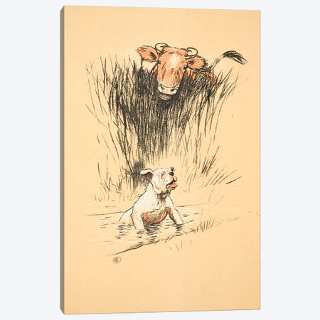 Bull and dog in field  Canvas Print #BMN3053} by Cecil Charles Windsor Aldin Canvas Wall Art
