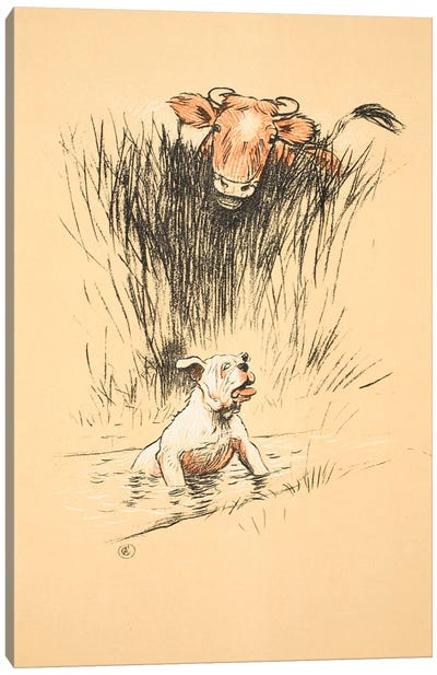 Bull and dog in field  Canvas Art Print