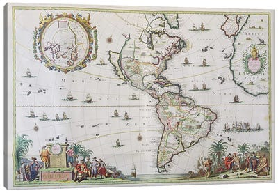 America, plate 84, from 'Atlas Minor Sive Geographica Compendiosa', 1680 Canvas Art Print