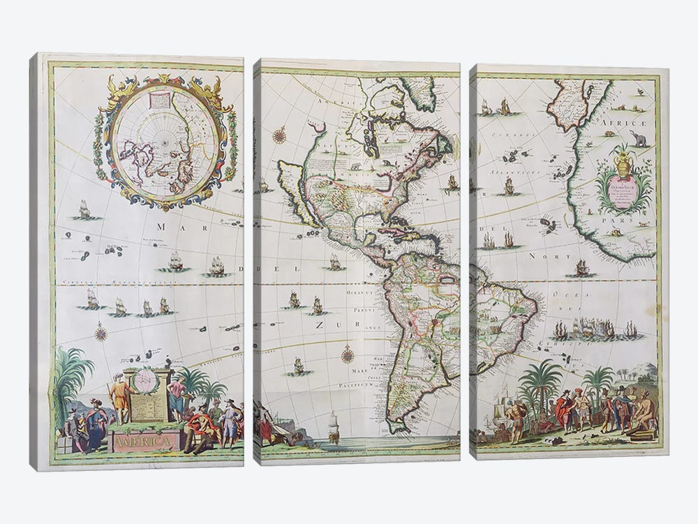 America, plate 84, from 'Atlas Minor Sive Geographica Compendiosa', 1680  by Nicolaes the Younger Visscher 3-piece Canvas Artwork