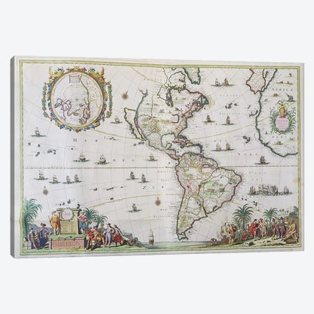 America, plate 84, from 'Atlas Minor Sive Geographica Compendiosa', 1680  Canvas Print #BMN3061} by Nicolaes Visscher II Canvas Print
