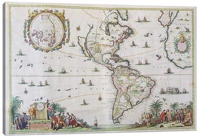 America, plate 84, from 'Atlas Minor Sive Geographica Compendiosa', 1680  Canvas Art Print